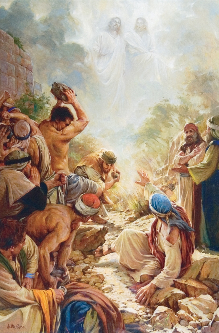 Stoning of Stephen as he envisions Jesus standing at the right hand of God